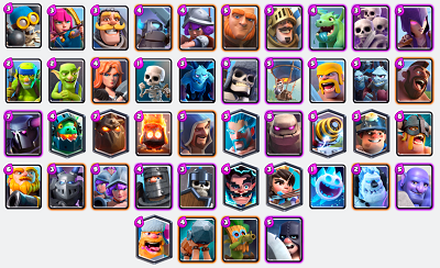 Clash Royale all Troop Cards